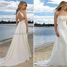 2012 Sheath White Chiffon Wedding Dress Beaded Cross Back Straps Beach Bridal Gown