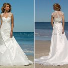 2012 A-line Strapless White Taffeta Wedding Dress Free Lace Jacket Custom Beach Bridal Gown