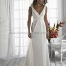 2012 A-line V-neck White Chiffon Wedding Dress Pleated Bridal Gown Small Train