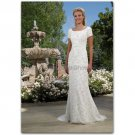 Custom Short Sleeves White / Ivory Lace Wedding Dress V-neck Sheath Bridal Gown Chiffon Train