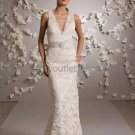 2012 Sheath Sleeveless V-neck White Ivory Alencon Lace Wedding Dress Hollow Back Bridal Gown