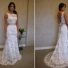 A-line Sleeveless Boat White Ivory Lace Wedding Dress Sz24 6 8 10+ Custom Bridal Gown
