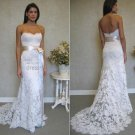 A-line Strapless White Ivory Alencon Lace Wedding Dress  Sz24 6 8 10+Custom Bridal Gown