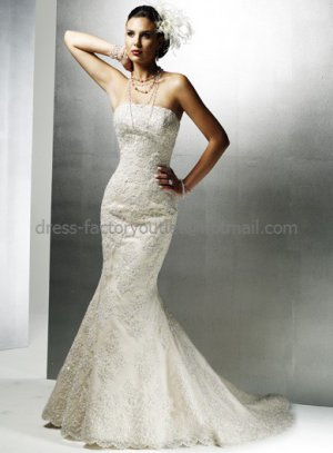 2012 Mermaid Strapless Champagne Lace Wedding Dress Lace Up Back Bridal Gown