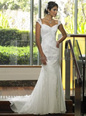 2012 Mermaid Cap Sleeve Ivory Applique Lace Wedding Dress Lace Up Back Bridal Evening Gown