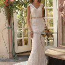 Mermaid Champagne Lace Wedding Dress Sz24 6 8 10+ Custom Hollow Back Bridal Evening Gown