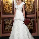 A-line Short Cap Sleeves White Lace Wedding Dress Sz24 6 8 10+ Custom Bridal Gown