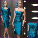 Sheath Strapless Blue Satin Knee Length Mother of the Bride Dress Short Evening Dress Free Jacket