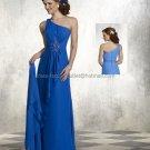 2013 One Shoulder Blue Chiffon Floor Length Mother of the Bride Dress Evening Dress Free Shawl