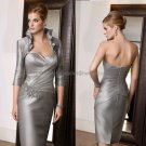 2012  Strapless Silver Satin Knee Length Mother of the Bride Dress Short Evening Dress Free Jacket