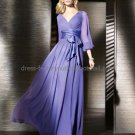 3/4 Long Sleeves A-line Blue Chiffon Floor Length Mother of the Bride DressLong  Evening Dress