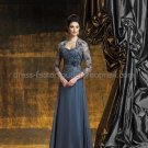 Strapless Steel Blue Chiffon Floor Length Mother of the Bride Dress Evening Dress Free Lace Jacket