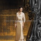 Strapless Gold Satin Lace Floor Length Mother of the Bride Dress Evening Dress Free Lace Jacket