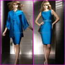 Strapless Blue Satin Knee Length Mother of the Bride Dress Pleated Short Evening Dress Free Jacket