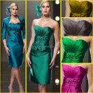 Strapless Blue Green Fuchsia Gold Black Satin Short Mother of the Bride Dress Evening Dress & Jacket