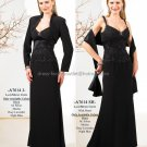 Spaghetti Straps Sheath Long Mother of the Bride Dress Lace Top Evening Dress Free Shawl Jacket