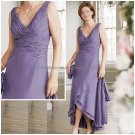 Sleeveless A-line Blue Lavender Chiffon Ankle Length Mother of the Bride Dress Short Evening Dress