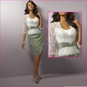 Hot Sale White Lace Sage Green Satin Short Mother of the Bride Dress Knee Length Evening Dress