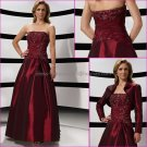 2012  Strapless Burgundy Beaded Mother of the Bride Dress Red Long Taffeta Evening Dress Free Jacket