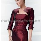 Strapless Burgundy Beaded Mother of the Bride Dress Red  Short Taffeta Evening Dress Free Jacket