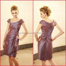 2012 Off Shoulder Mother of the Bride Dress Maroon Taffeta Short Taffeta Evening Dress