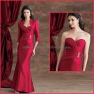 2012 Strapless Burgundy Satin Wine Mother of the Bride Dress Red Long Evening Dress Free Jacket