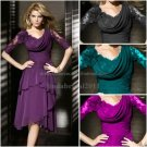 Green Red Purple Fucsia Chiffon Lace Mother of the Bride Dress Short Lady's Evening Prom Dress