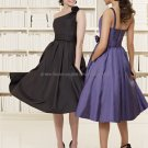 A-line One Shoulder Short Evening Dress Cocktail Dress Stock  Knee Length Taffeta Bridesmaid Dress