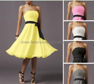 A-line Custom Short Evening Dress Cocktail Dress Stock Knee Length White Red Pink Bridesmaid Dress
