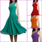 A-line One Shoulder Short Evening Dress Cocktail Dress Stock Green Red Purple Bridesmaid Dress