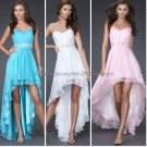 Strapless Short Evening Dress Cocktail Dress Stock Hi-low White Blue Pink Bridesmaid Prom Dress