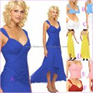 A-line Short Evening Dress Cocktail Dress Hi-low Red Blue Pink Green Bridesmaid Prom Dress