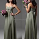 Strapless Evening Dress Party Dress Full Length Olive Green Braided Sash Chiffon Bridesmaid Dress