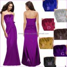 Strapless Evening Dress Prom Dress Long Black Blue Red Purple Satin Empire Bridesmaid Dress