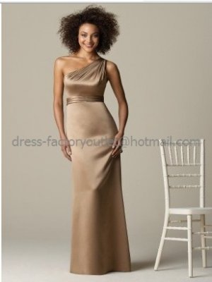 Shoulder Evening Dress Prom Dress Long Bronze Coffee Satin Empire ...
