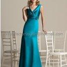 V-neck Teal Green Satin Evening Dress Prom Dress Long Bridesmaid Dress