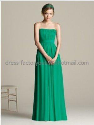 Strapless Evening Dress Prom Dress Long Green Chiffon Bridesmaid Dress