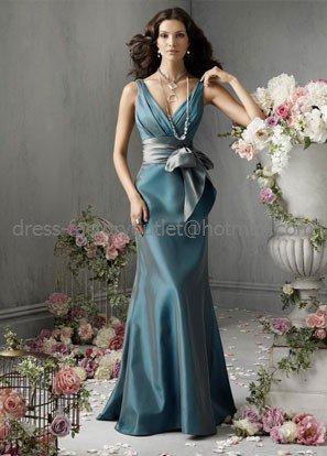 V-neck Teal Green Blue Evening / Prom / Bridesmaid Dress Sz 4 6 8 10 12 14+Custom