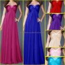 Strapless Evening Dress Prom Dress Long Beaded Purple Blue Pink Green Bridesmaid Dress