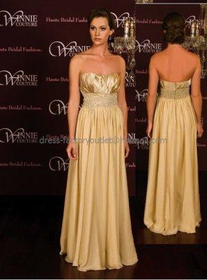 Strapless Evening Dress Prom Dress Long Beaded Gold Satin Chiffon Bridesmaid Dress