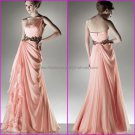 One Shoulder Evening Dress Prom Dress Long Pink Peach Coral Chiffon Bridesmaid Dress