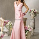 2012 Hot Sale V-neck Pink Taffeta Evening Dress Prom Dress with Sash Long Bridesmaid Dress