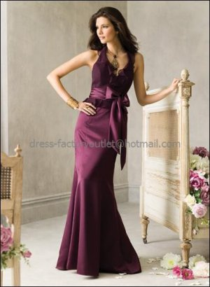 2012 Hot Sale V-neck Plum Taffeta Evening Dress Prom Dress Purple Sash Long Bridesmaid Dress