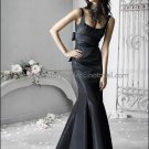 2012 Square Neck Mermaid Evening Dress Prom Dress Long Pleated Black Taffeta Bridesmaid Dress