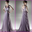A-line V-neck Evening Dress Prom Dress Long Pleated Purple Lavender Chiffon Bridesmaid Dress