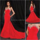 Vintage Red Chiffon Strapless Mermaid Evening Dress Jeweled Prom Dress Beaded Party Dress