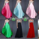 Blue Coral Chiffon Thin Straps V Neck Evening Dress Long Prom Dress Gown Beaded Party Dress