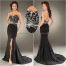 Vintage Black Chiffon Strapless Mermaid Evening Dress Embroidery Prom Dress Beaded Party Dress