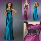 Cap Sleeves Purple Blue Evening Dress Long Prom Dress Gown Pleated Party Dress