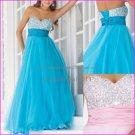 Blue Pink Organza Evening Dress Long Empire Waist Prom Dress Gown Beaded Party Dress